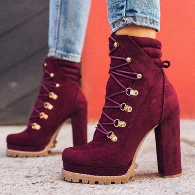 Fashion High Heel Boots Waterproof Platform Boots for Autumn/Winter 2021 On Sale_7
