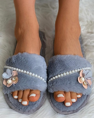 Floral Pattern Beaded Fluffy Slippers_12
