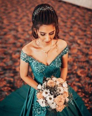 Gorgeous A Line Blue Off the Shoulder Lace Prom Dresses_3