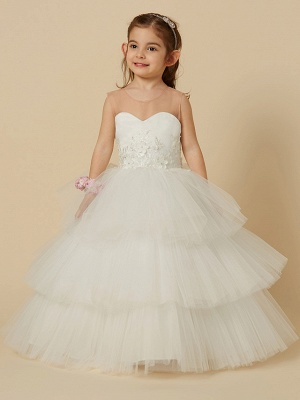 Lovely Jewel Tulle Lace Sleeveless Flower Girl Dress