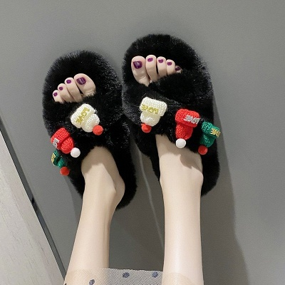 Christmas Pattern Cross Fluffy Slippers