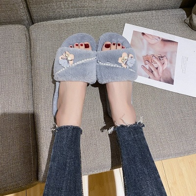 Floral Pattern Beaded Fluffy Slippers_5