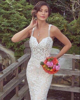 Cheap Mermaid Sweetheart Floor Length Lace Wedding Gowns_3