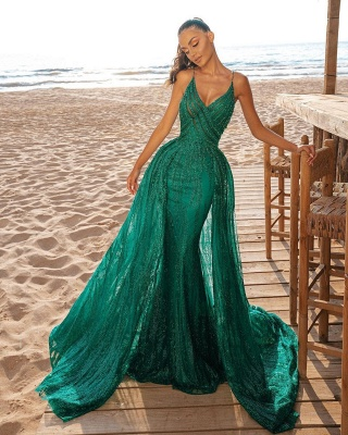 Mermaid Prom Party Dress V-Neck Sequined Prom Dresses_2