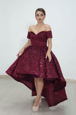 Cheap Shining Short Sequin Prom Dresses Burgundy with Train_1