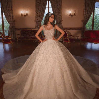 Gorgeous Ball Gown Square Neck Tulle Wedding Dress with Beadings_2