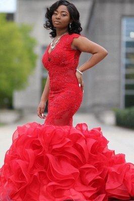 Mermaid Red Prom Dresses Sleeveless Ruffy Train Evening Maxi Gown_2