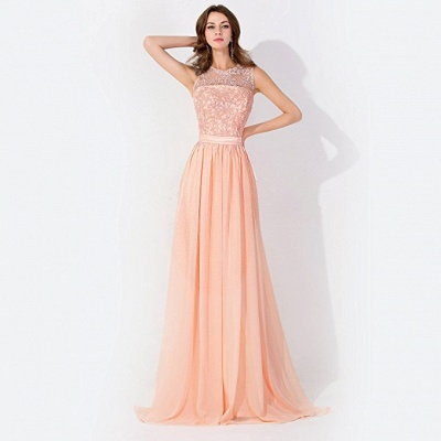 Cheap A-line Chiffon Tulle Lace Ruffles Bridesmaid Dress in Stock_4