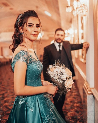 Gorgeous A Line Blue Off the Shoulder Lace Prom Dresses_4