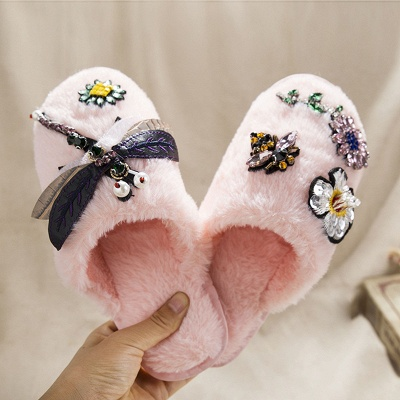 Floral Pattern Rhinestone Fluffy Slippers_2