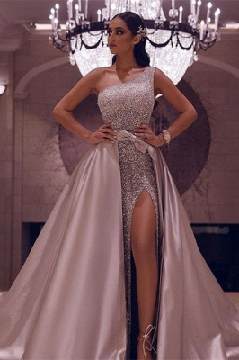 Sexy One-Shoulder Sequins Slit Prom Dress with Over Skirt_1