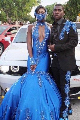 Satin Halter Prom Dress V-Neck Mermaid Evening Gowns Sleeveless Crystals_1