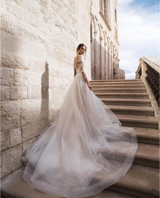 Sexy Long Sleeves Lace Wedding Dresses Online_3