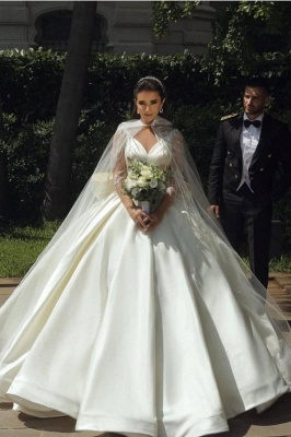 Ball Gown Satin Long Sleeves Lace Wedding Dress with Bow