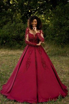 Glamorous Tulle Satin Lace Long Sleeves Wedding Dress with Beadings