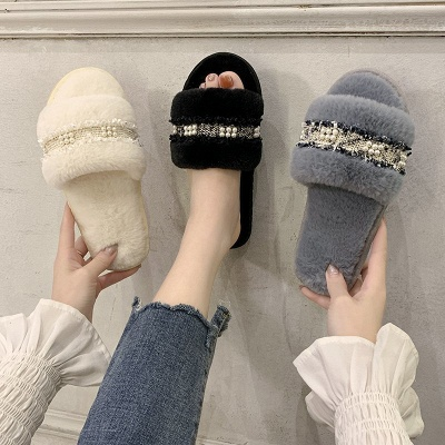 Fringe Beaded Fluffy Slippers