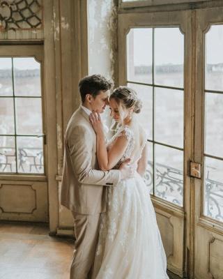 Simple Princess lace Boho wedding dresses cheap_2