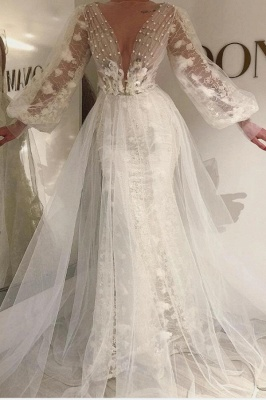 Long Sleeves Tulle Lace Prom Dress with Pearls_1