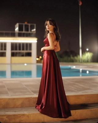 Sexy V-neck Burgundy Charmeuse Slit Backless Prom Dress_4