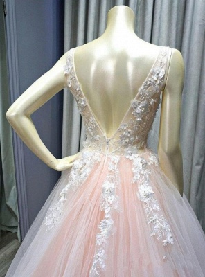 Sexy Deep-V-Neck Tulle Lace Prom Dress_4