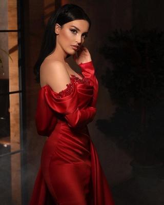 Alluring Off-Shoulder Satin Ruffles Prom Dress with Side Slit_3