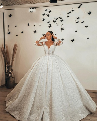 Ball Gown Long Sleeves Lace  Glitter wedding dresses_3
