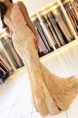 Elegant Mermaid Sleeveless Lace Prom Dress_1