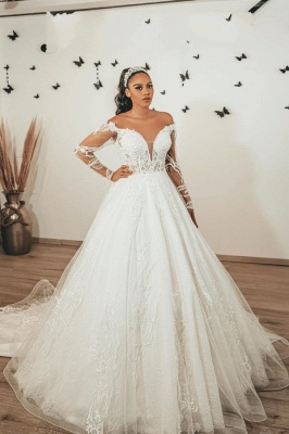 Modern A Line Lace Wedding dresses with sleeves_1