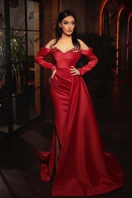 Alluring Off-Shoulder Satin Ruffles Prom Dress with Side Slit_1