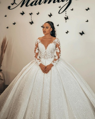Ball Gown Long Sleeves Lace  Glitter wedding dresses_2