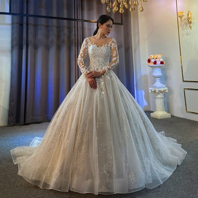 Ball Gown Long Sleeves Tulle Lace Wedding Dress_2