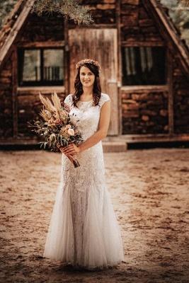 Affordable Tulle Lace Sleeveless Wedding Dress_1