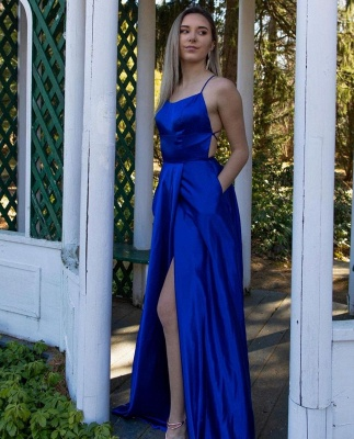 Simple Royal Blue Long Sheath  Prom dresses_3
