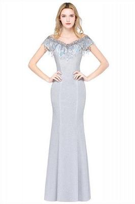 Elegant Jewel Short Sleeves Sequins Evening Dress with Tassels On Sale_1