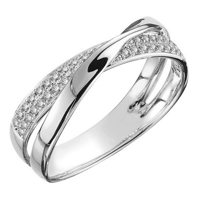 Newest Fresh Two Tone X Shape Cross Ring for Women Wedding Trendy Jewelry Dazzling CZ Stone Large Modern Rings_2