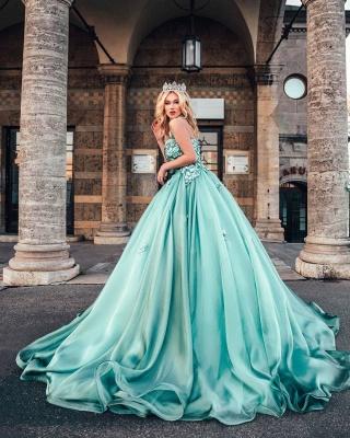 Lighter green evening dresses ball gown Prom dresses long cheap_4