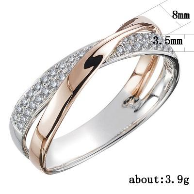 Newest Fresh Two Tone X Shape Cross Ring for Women Wedding Trendy Jewelry Dazzling CZ Stone Large Modern Rings_4