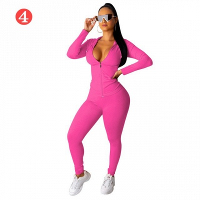 New 2021 Two Pieces Outfits Women Bodycon Solid Hoodie Long Sleeve Jacket & Long Legging Sweatsuit_1