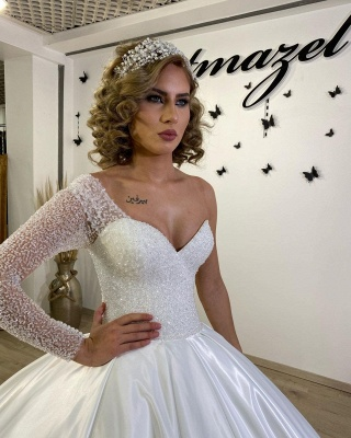 Luxury Princess  One Shoulder Wedding dresses with sleeves_3
