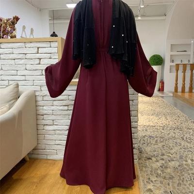 Maxi Dress Abaya Kaftan Women Tie Waist Loose Causul Long Sleeve Muslim Hijab Dress Islam Dubai Turkey Fashion Modset Robe_2