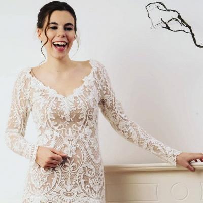 Sheath Lace Long Sleeves Wedding Dress Online_3