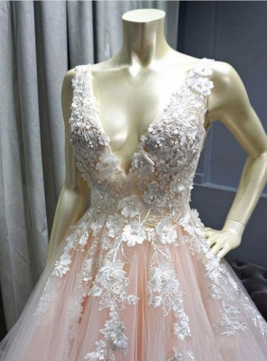 Sexy Deep-V-Neck Tulle Lace Prom Dress_3
