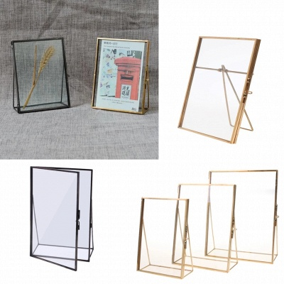 Simple Antique Gold Rectangle Glass Photo Frame Folding Desktop Picture Brass Frames for Portraits and Landscape Home Decoration
