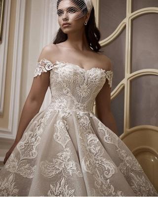 Glamorous Off-Shoulder Tulle Lace Wdding Dress_3