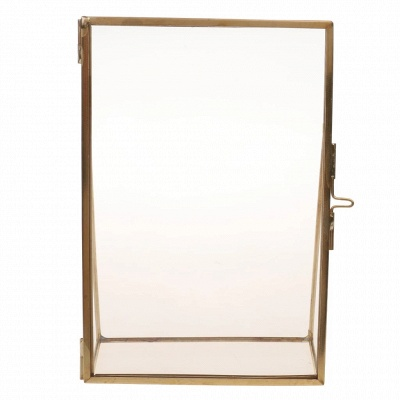 Simple Antique Gold Rectangle Glass Photo Frame Folding Desktop Picture Brass Frames for Portraits and Landscape Home Decoration_3