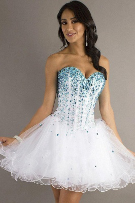 Cute Strapless Tulle Short Homecoming Dress On Sale_1