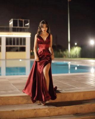 Sexy V-neck Burgundy Charmeuse Slit Backless Prom Dress_3