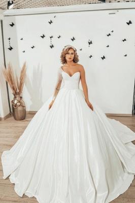 Luxury Princess  One Shoulder Wedding dresses with sleeves_1