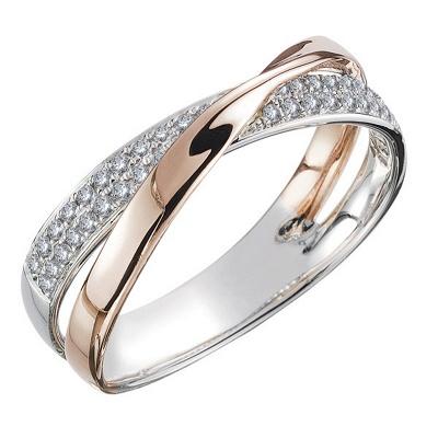 Newest Fresh Two Tone X Shape Cross Ring for Women Wedding Trendy Jewelry Dazzling CZ Stone Large Modern Rings_3