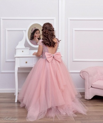 Cute Tulle Beadings Cap Sleeves Flower Girl Dress with Bow_2